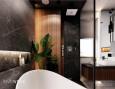 Projekt łazienki z gresowymi czarnymi płytkami i półką