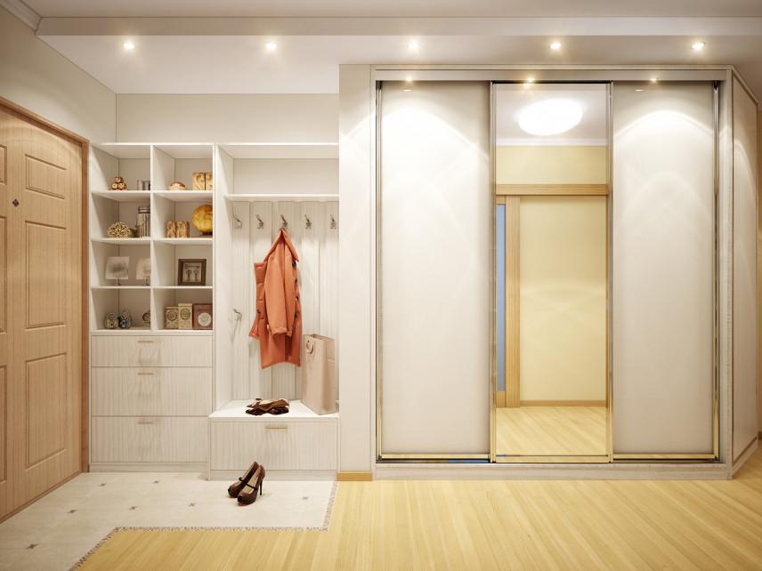 Jasny przedpokój z szafa z przesuwanymi drzwiami