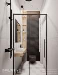 Aranżacja łazienki z prysznicem typu walk-in z otwarta drewnianą szafką