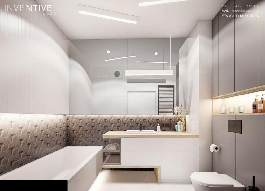 Łazienka z szarymi płytkami 3d
