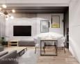 Salon z imitacją betonowych płyt na ścianie