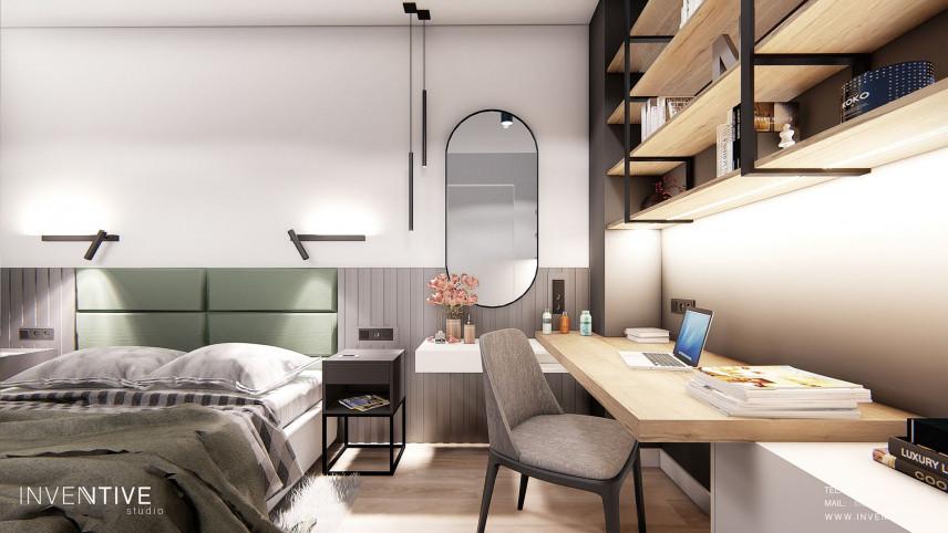 Aranżacja sypialni z łóżkiem kontynentalnym i biurkiem do pracy