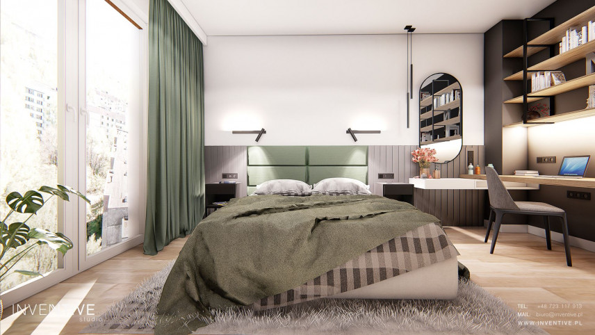 Aranżacja sypialni z dużymi oknami