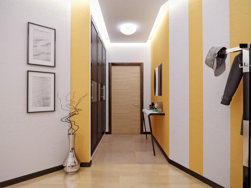 Przedpokój w biało-żółtej stylizacji