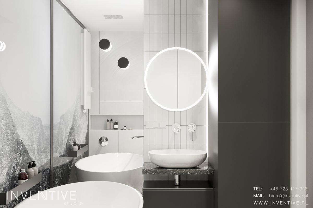 Aranżacja łazienki ze zlewem owalnym w kolorze białym