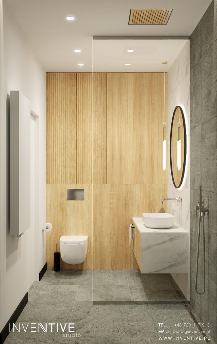 Łazienka z drewnem i betonem