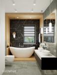 Elegancka łazienka ze ścianą z czarnego marmuru