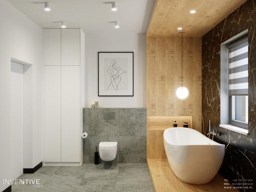Stylowa łazienka z drewnianą wnęką na wannę