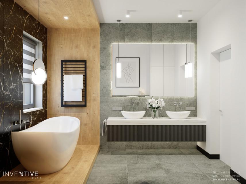 Designerska łazienka w stylu scandi z wolnostojącą wanną
