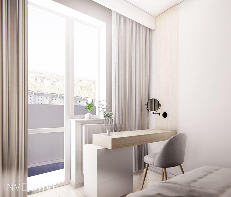 Aranżacja sypialni z toaletką w stylu scandi