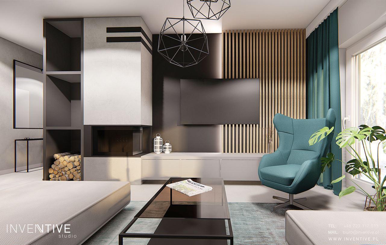 Aranżacja salonu z loftową lampą wiszącą