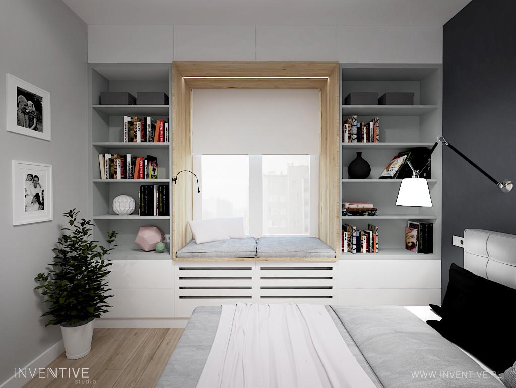 Szara sypialnia z oknem