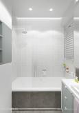 Łazienka z białą ścianą z kafla 3d
