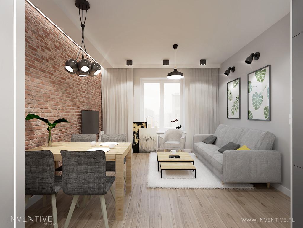 Salon z rustykalną cegłą na ścianie