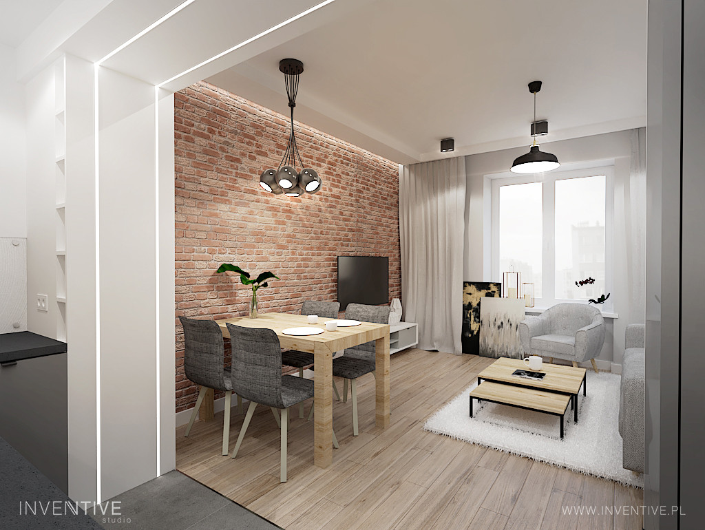Stylowy salon z rustykalną cegłą