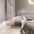 Aranżacja sypialni z łóżkiem kontynentalnym i szafkami nocnymi