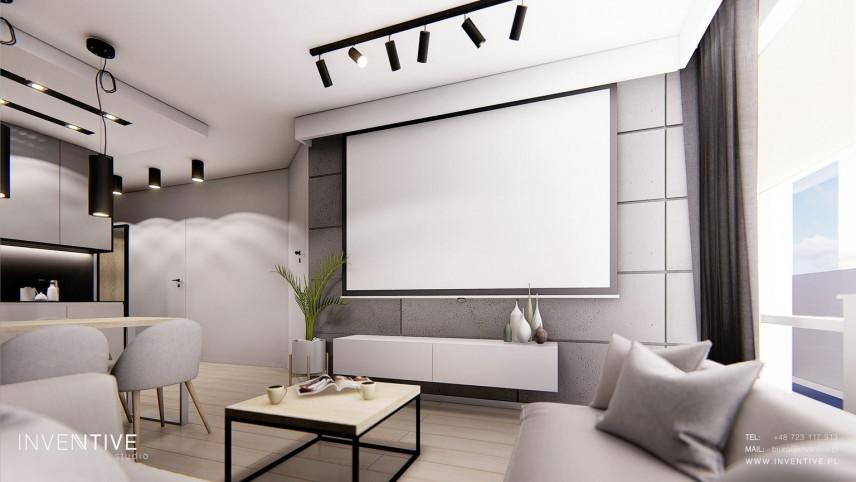 Salon z rzutnikiem na ścianie