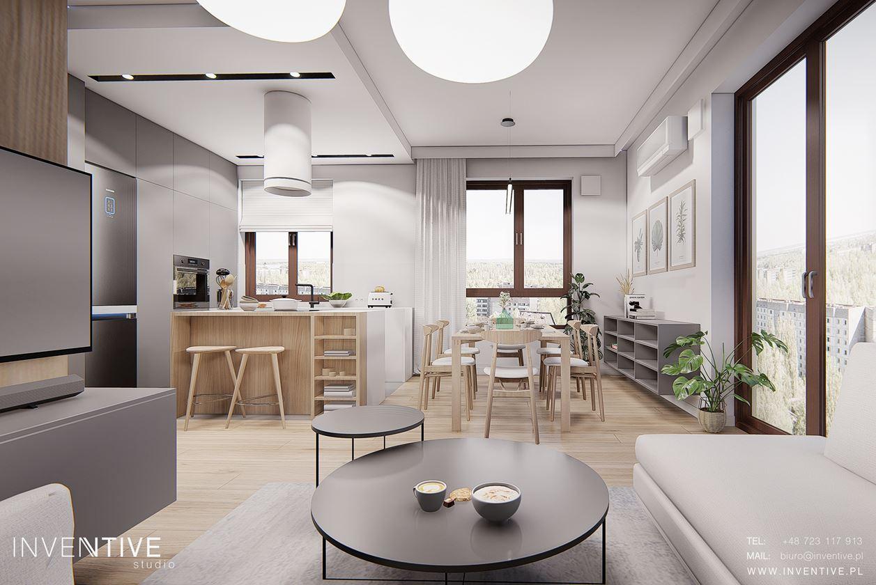Stylowy salon z okrągłymi stolikami kawowymi