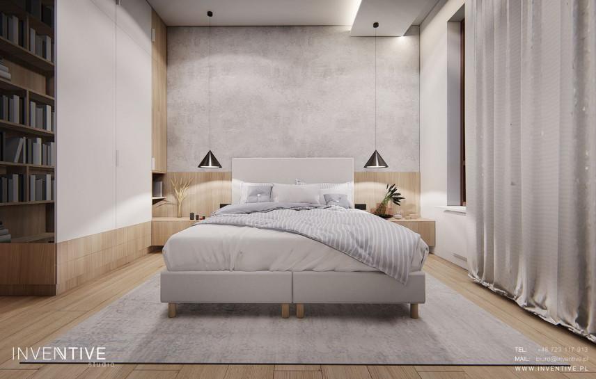 Aranżacja sypialni z łóżkiem kontynentalnym, szafą