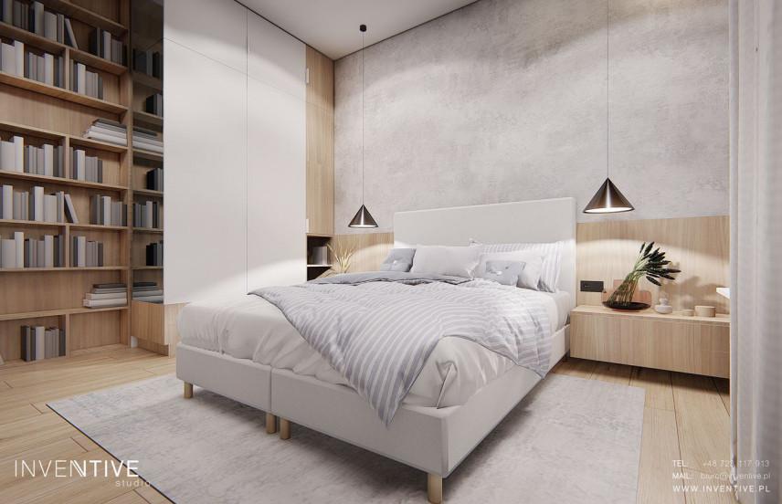 Sypialnia w stylu skandynawskim z biblioteczką i szafą