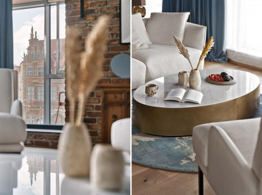 Salon z rustykalną cegłą i meblami Art Deco