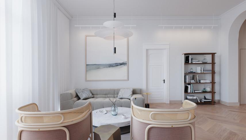 Biały salon ze stylowymi meblami