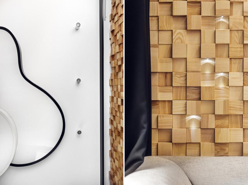 Ściana z drewnianych sześcianów