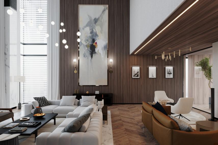 Nowoczesny salon z białymi i brązowymi dodatkami