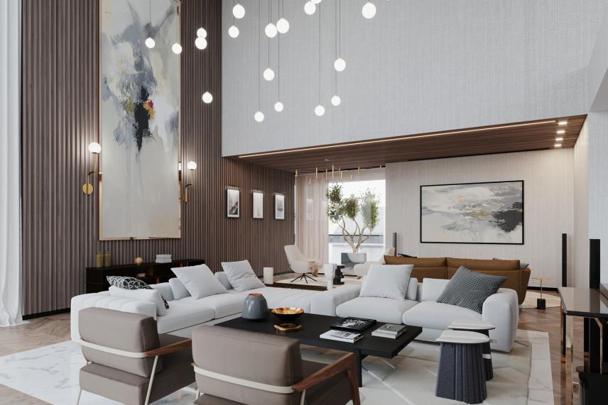 Wysoki salon z efektownym obrazem na ścianie