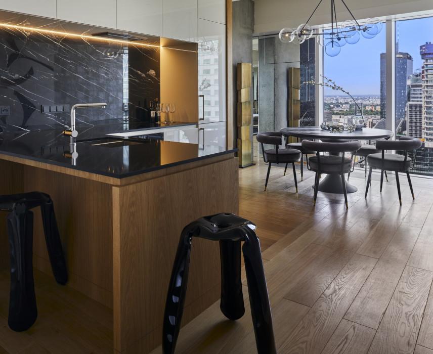 Aranżacja kuchni połączonej z jadalnią w stylu Art Deco