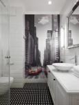Biała łazienka z fototapetą