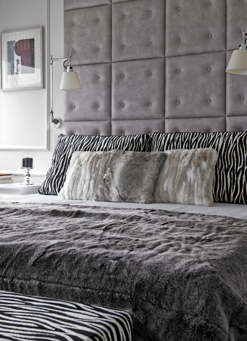 Sypialnia glamour z tapicerowanym zagłówkiem
