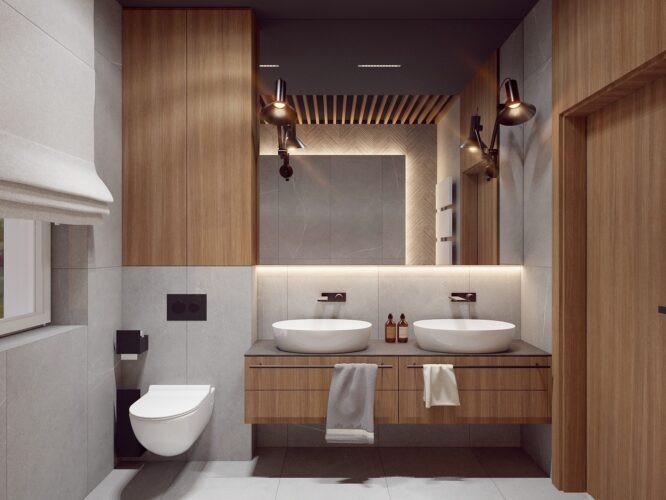 Stylowa łazienka z kaflami z betonu dekoracyjnego
