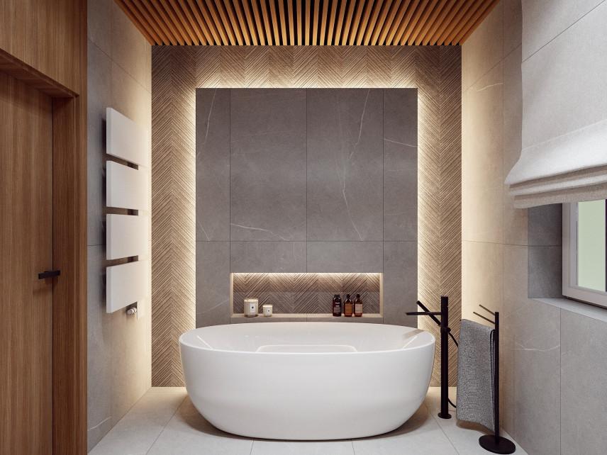 Łazienka z wanną i podświetlaną ścianą