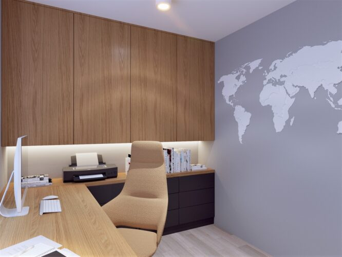 Małe biuro  z szarą ścianą z mapą