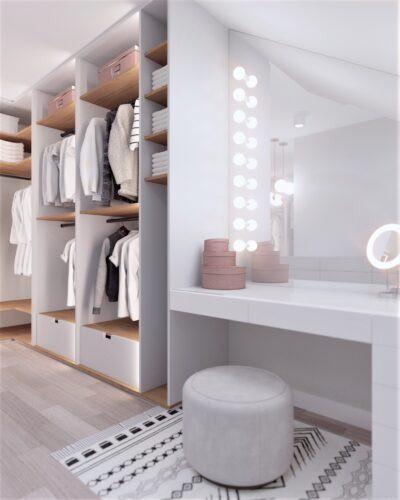 Biała garderoba z toaletką