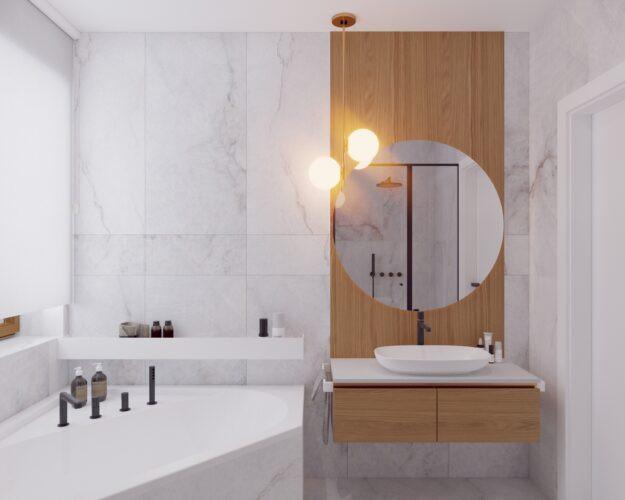 Jasna  łazienka z marmurem na ścianie