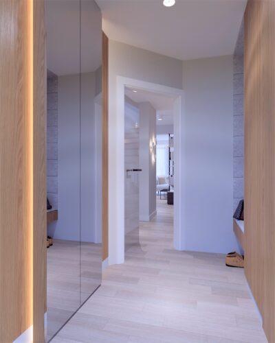 Przedpokój z szafą z lustrzanymi drzwiami