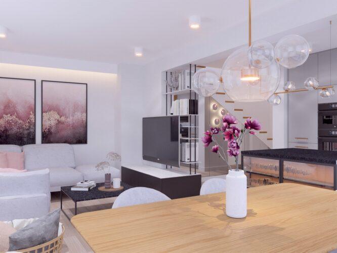 Biały salon  w stylu scandi z elementami floralnymi na ścianie