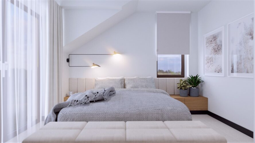 Biała sypialnia  z szarym łóżkiem z zagłówkiem