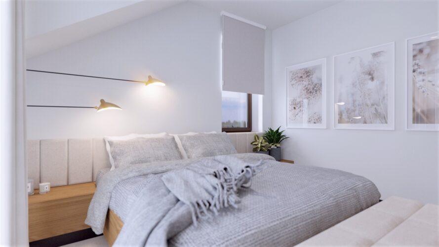 Biało-szara sypialnia w stylu scandi