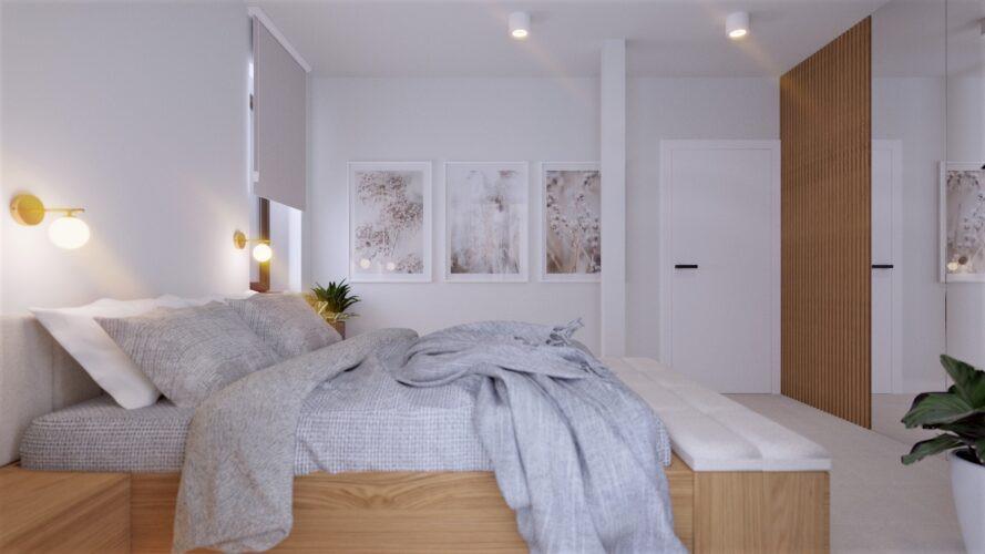 Elegancka sypialnia w kolorze szaro-białym