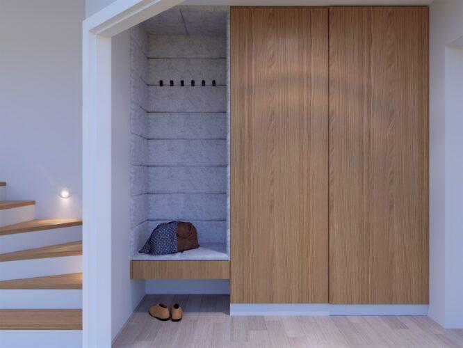 Przedpokój z siedziskiem i szafą