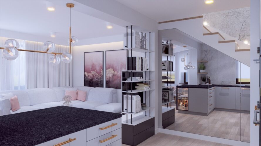 Biały salon w stylu glamour z szafą w zabudowie