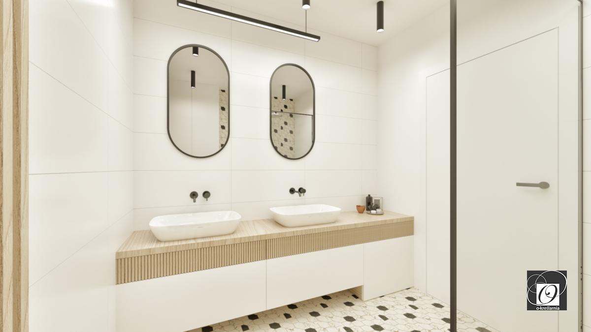 Łazienka z dwoma zlewami nablatowymi