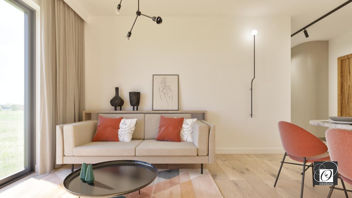 Salon z klasyczną sofą na metalowych nogach