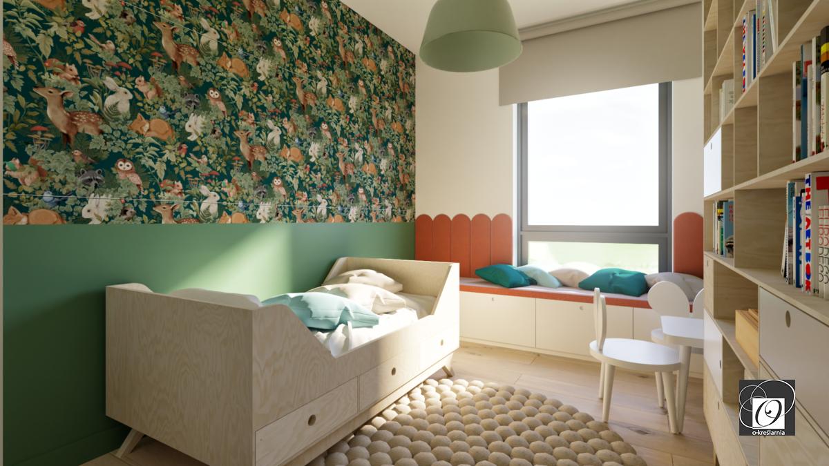 Aranżacja pokoju dziecięcego z zieloną ścianą