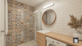 Łazienka z kolorowymi płytkami na ścianie