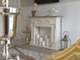 Salon z miejscem na kominek