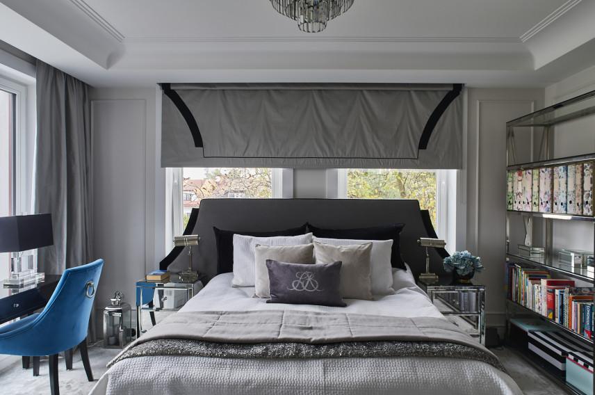 Sypialnia w kolorze szarym w stylu glamour